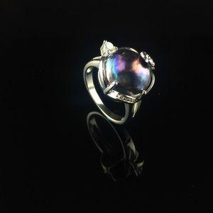 Peacock Potato Pearl 925 Silver Ring